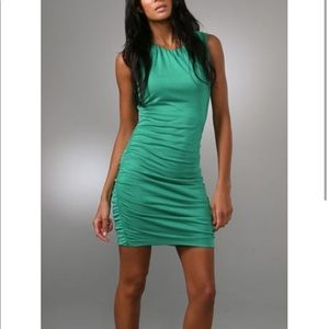 DVF Tulipan Green Silk Jersey Ruched Bodycon Dress